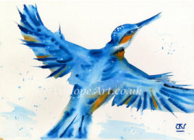Using wet on wet to capture the dazzling beauty of this bird in flight, the swirling dimensional brushstrokes follow the shape of its wings. Rays of sunlight and dappled droplets of water create magic: its wings seem to fly off the paper with happiness.
