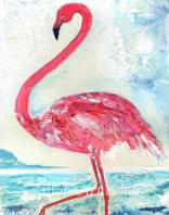 Symbolising enjoyment of the moment, a collage of lace and tissue paper captures this flamboyant bird. It waits patiently on Salt Pan Lakes, Faro; then, with flame-red tickled-pink plumage dancing against the ocean, with graceful power it swoops down.